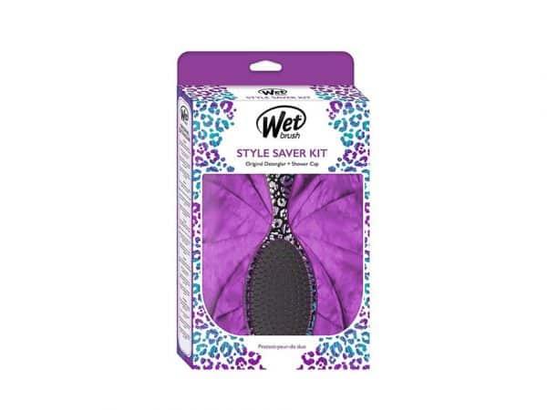 wet Brush purple detangler shower cap combo